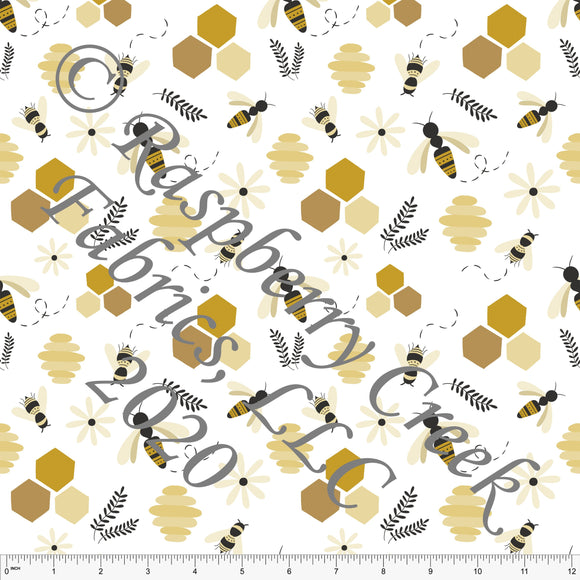 Mustard Black and Tonal Yellow Honey Bees, Spring Bugs By Stephani MacLeod for Club Fabrics - Raspberry Creek Fabrics