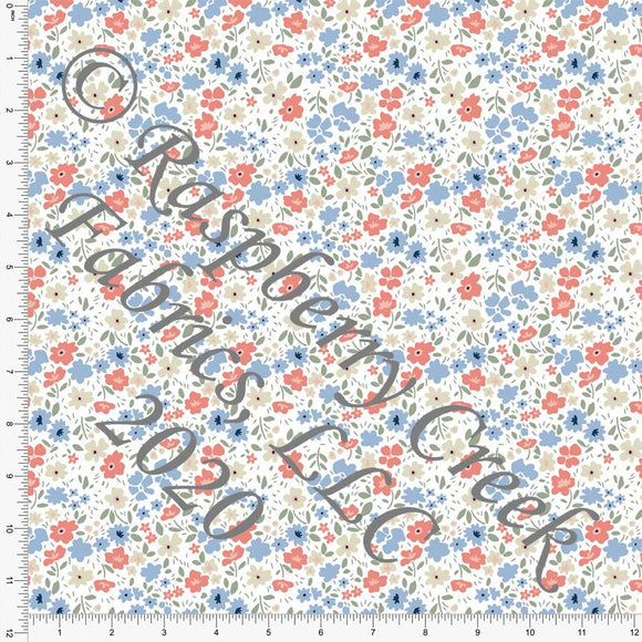 Periwinkle Coral Sage and Cream Spring Meadow Floral Print Double Brushed Poly Knit Fabric, Simple for CLUB Fabrics Raspberry Creek Fabrics