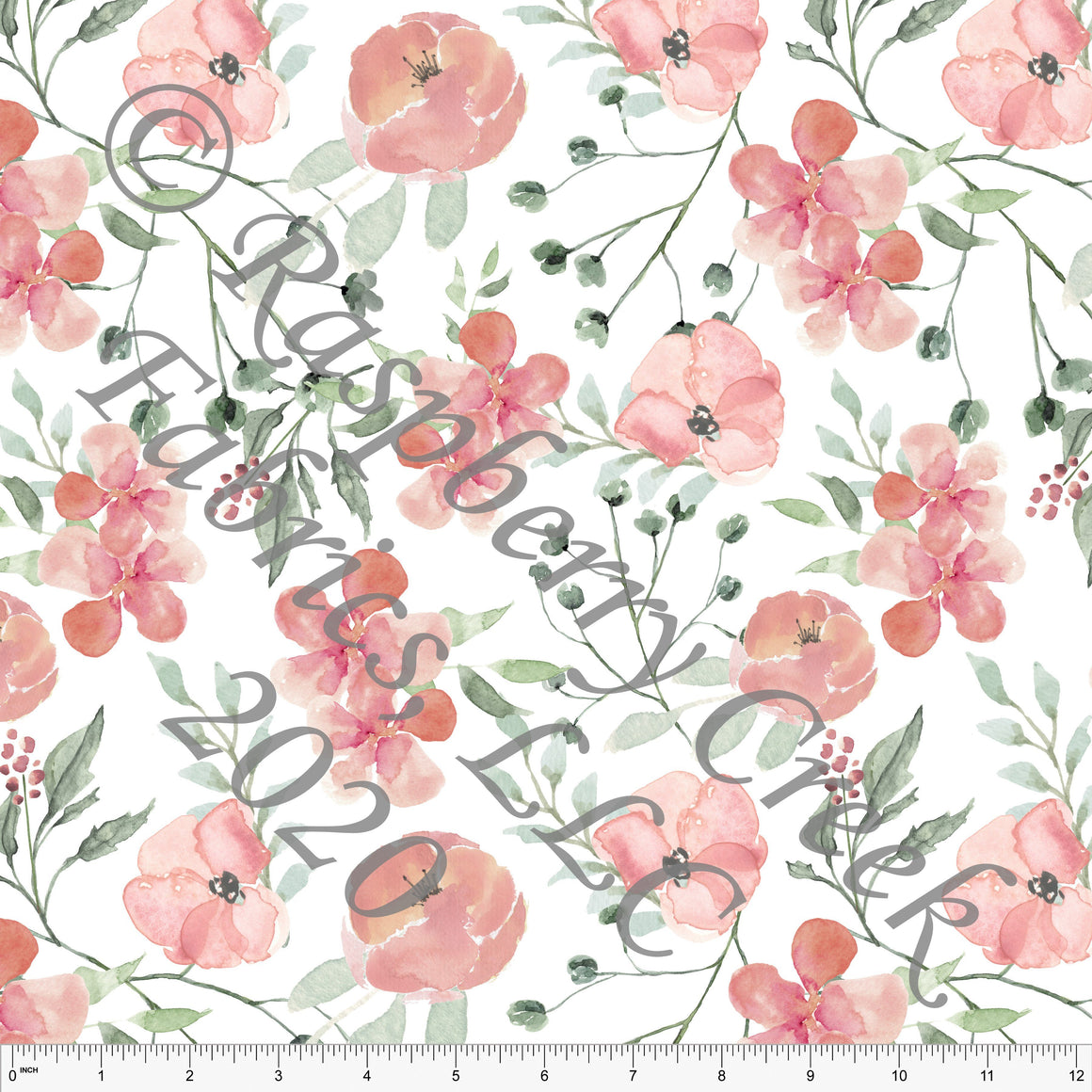 Dusty Pink Coral Sage and Grey Pale Spring Pink Floral, Club Fabrics - Raspberry Creek Fabrics