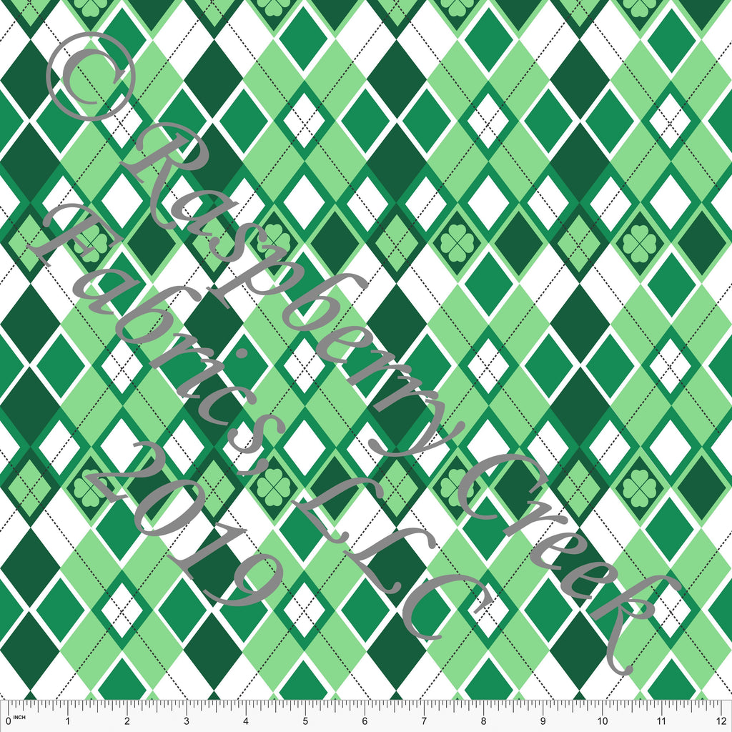 Kelly Green Geometric Shamrock Argyle 4 Way Stretch Jersey Knit Fabric, St. Patricks Day By Elise Peterson for CLUB Fabrics - Raspberry Creek Fabrics