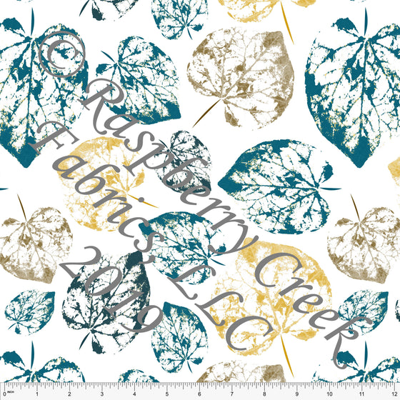 Teal Mustard and Taupe Stamped Look Leaves by Elise Peterson for Club Fabrics - Raspberry Creek Fabrics