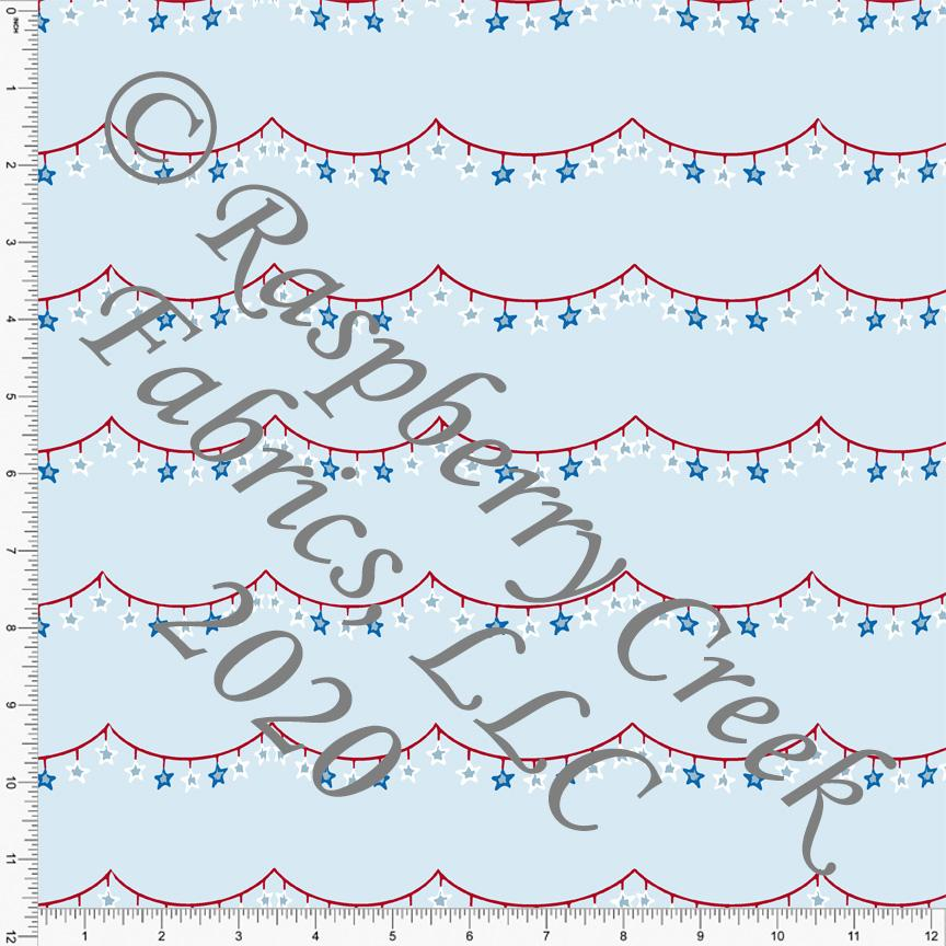 Light Blue Royal Blue Red and White Scallop Star Bunting, By Brielle Carlson for CLUB Fabrics - Raspberry Creek Fabrics Knit Fabric