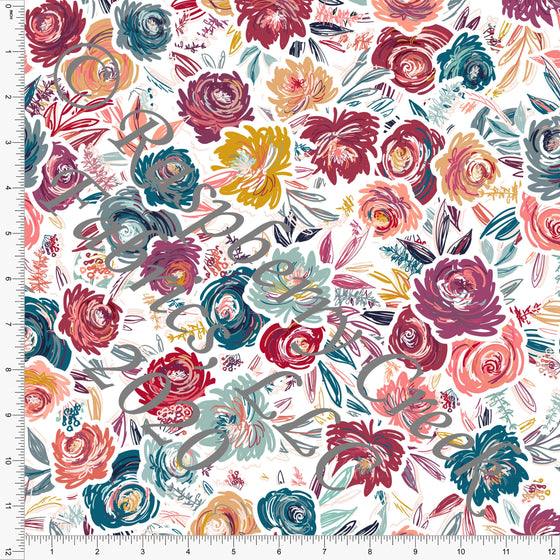 Burgundy Mustard Teal Mint and Coral Floral, Stitched by Tonya Knowlden Club Fabrics - Raspberry Creek Fabrics