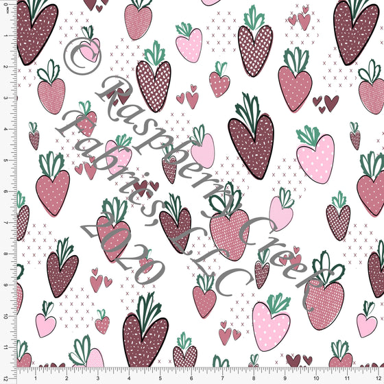 Burgundy Mauve Pink and Grey Sweet Strawberry Hearts, By Kelsey Shaw For Club Fabrics - Raspberry Creek Fabrics