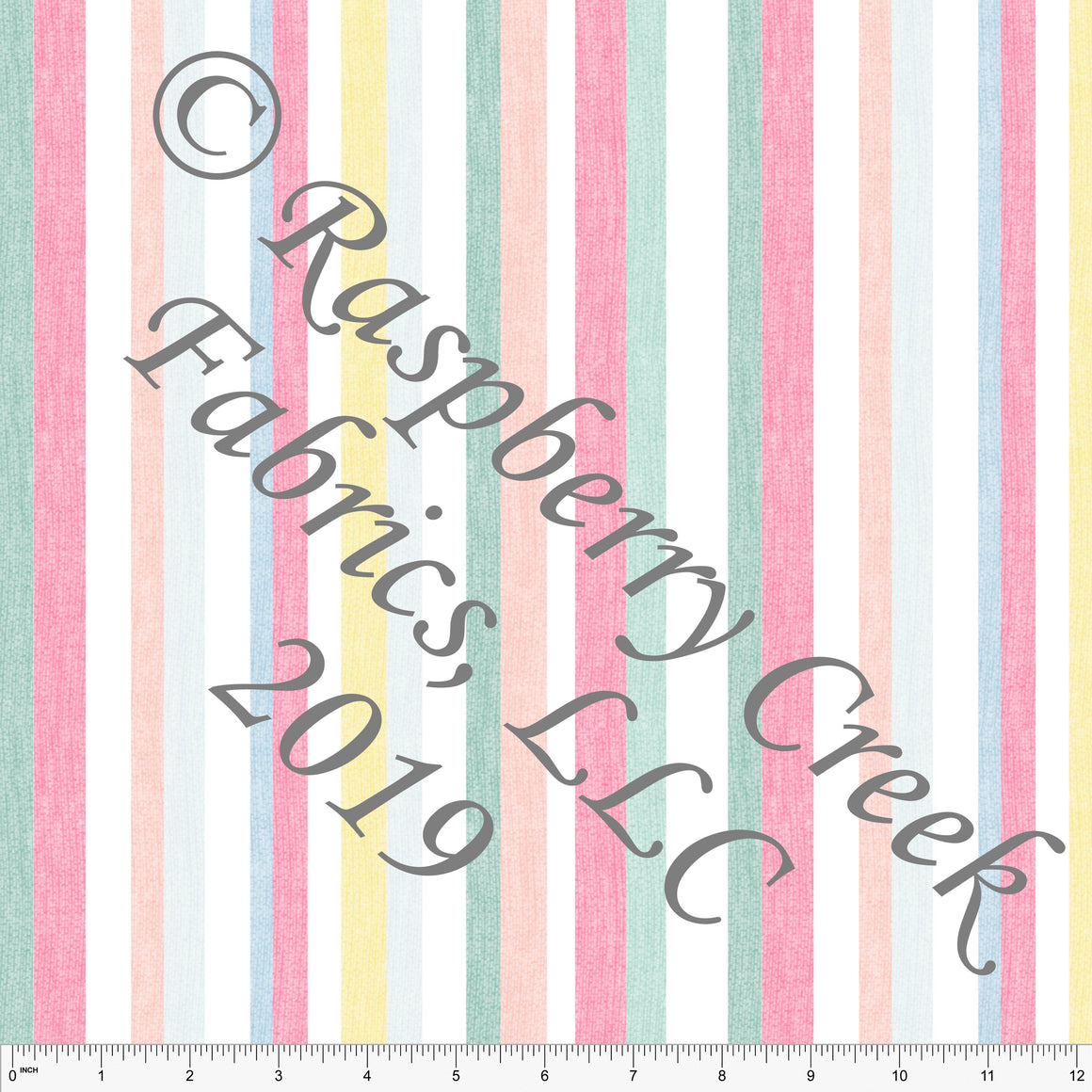 Salmon Seafoam Yellow Peach and Blue Linen Look Vertical Stripe Rayon Challis, CLUB Fabrics, 1 Yard