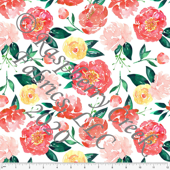 Salmon Coral Yellow Teal and Green Peony Watercolor Floral, Summer Floral Club Fabrics - Raspberry Creek Fabrics
