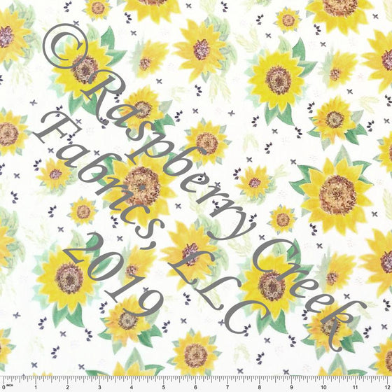 Yellow Green and Brown Watercolor Sunflower Floral on Off White 4 Way Stretch Jersey Knit Fabric, By Kelsey Shaw for Club Fabrics
