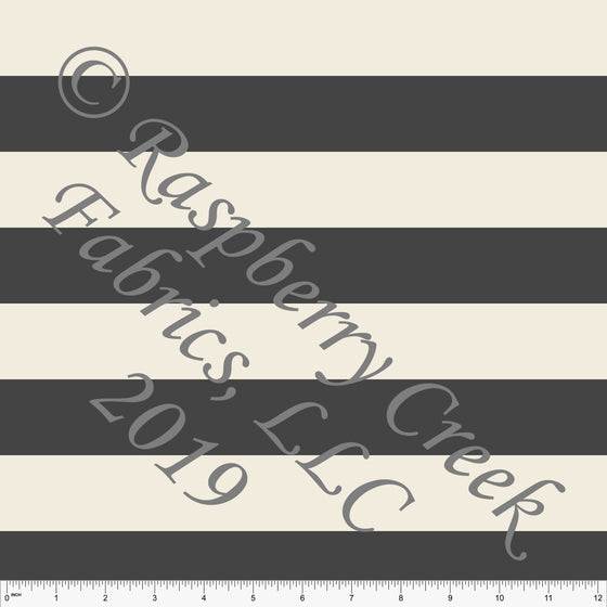 Medium Grey and Cream Rugby Stripe Ponte De Roma Knit Fabric, CLUB Fabrics, 1 yard - Raspberry Creek Fabrics