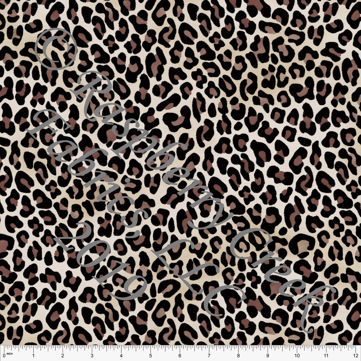 Black Brown Tan and Cream Leopard Print Stretch Crepe, CLUB Fabrics, 1 Yard - Raspberry Creek Fabrics