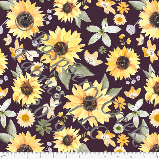 Plum Yellow Peach Orange and Brown Watercolor Sunflowers 4 Way Stretch Double Brushed Poly, By Elise Peterson for CLUB Fabrics - Raspberry Creek Fabrics