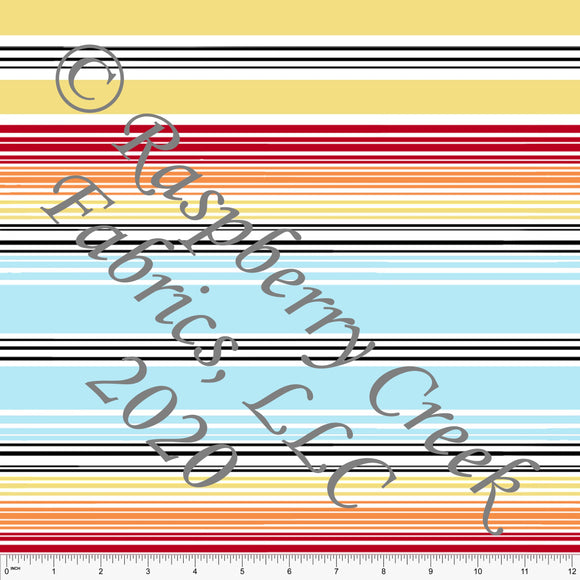 Red Orange Yellow Blue and Black Multi Stripe Print By Emily Ferguson for Club Fabrics - Raspberry Creek Fabrics
