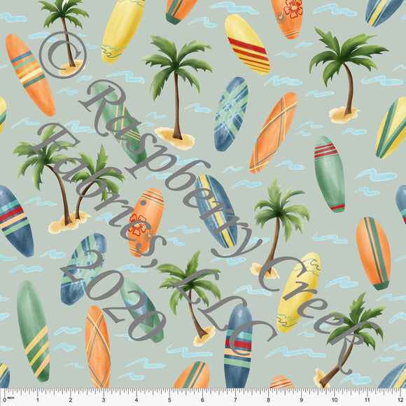 Dusty Green Yellow Red Orange and Blue Surfboard Print By Emily Ferguson for Club Fabrics - Raspberry Creek Fabrics