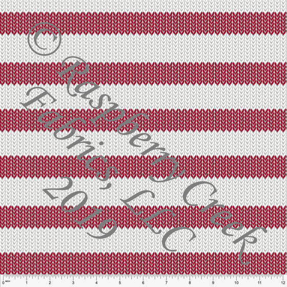 Red and White Sweater Knit Look Rugby Stripes by Bri Powell for Club Fabrics - Raspberry Creek Fabrics