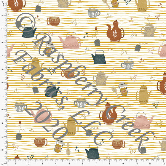 Hunter Green Rust Mustard and Dusty Pink Kettles, Sweater Weather by Kelsey Shaw for Club Fabrics - Raspberry Creek Fabrics
