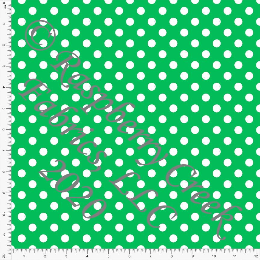 Green and White Polka Dot 4 Way Stretch MATTE SWIM Knit Fabric, Club Fabrics - Raspberry Creek Fabrics Knit Fabric