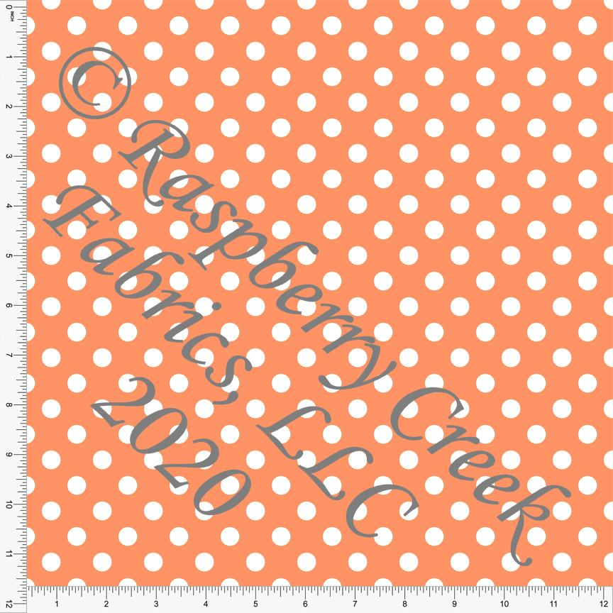 Orange and White Polka Dot 4 Way Stretch MATTE SWIM Knit Fabric, Club Fabrics - Raspberry Creek Fabrics Knit Fabric