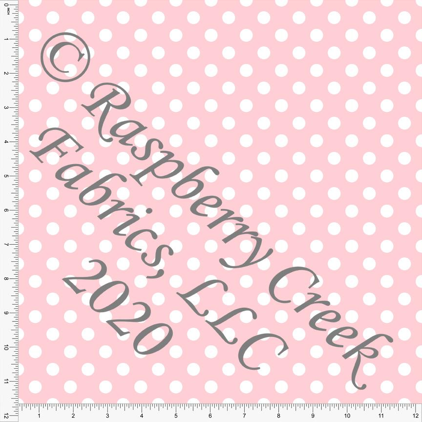 Light Pink and White Polka Dot 4 Way Stretch MATTE SWIM Knit Fabric, Club Fabrics - Raspberry Creek Fabrics Knit Fabric