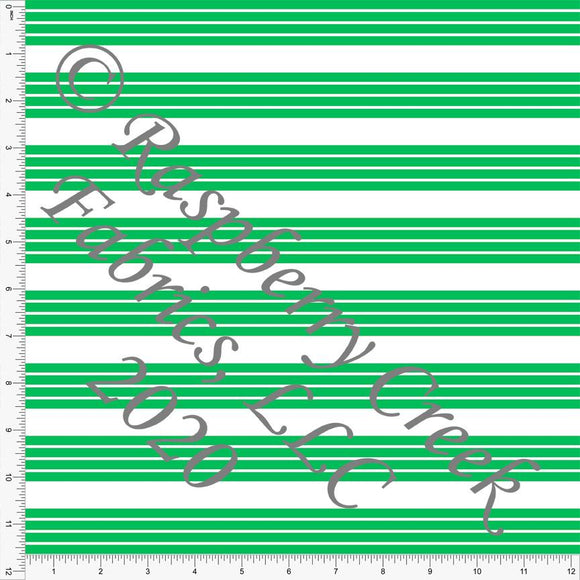 Green and White Stripe 4 Way Stretch MATTE SWIM Knit Fabric, Club Fabrics - Raspberry Creek Fabrics