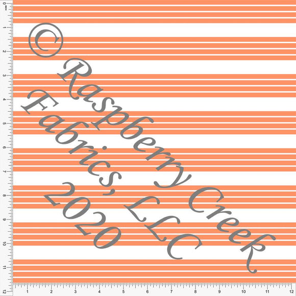 Orange and White Stripe 4 Way Stretch MATTE SWIM Knit Fabric, Club Fabrics - Raspberry Creek Fabrics