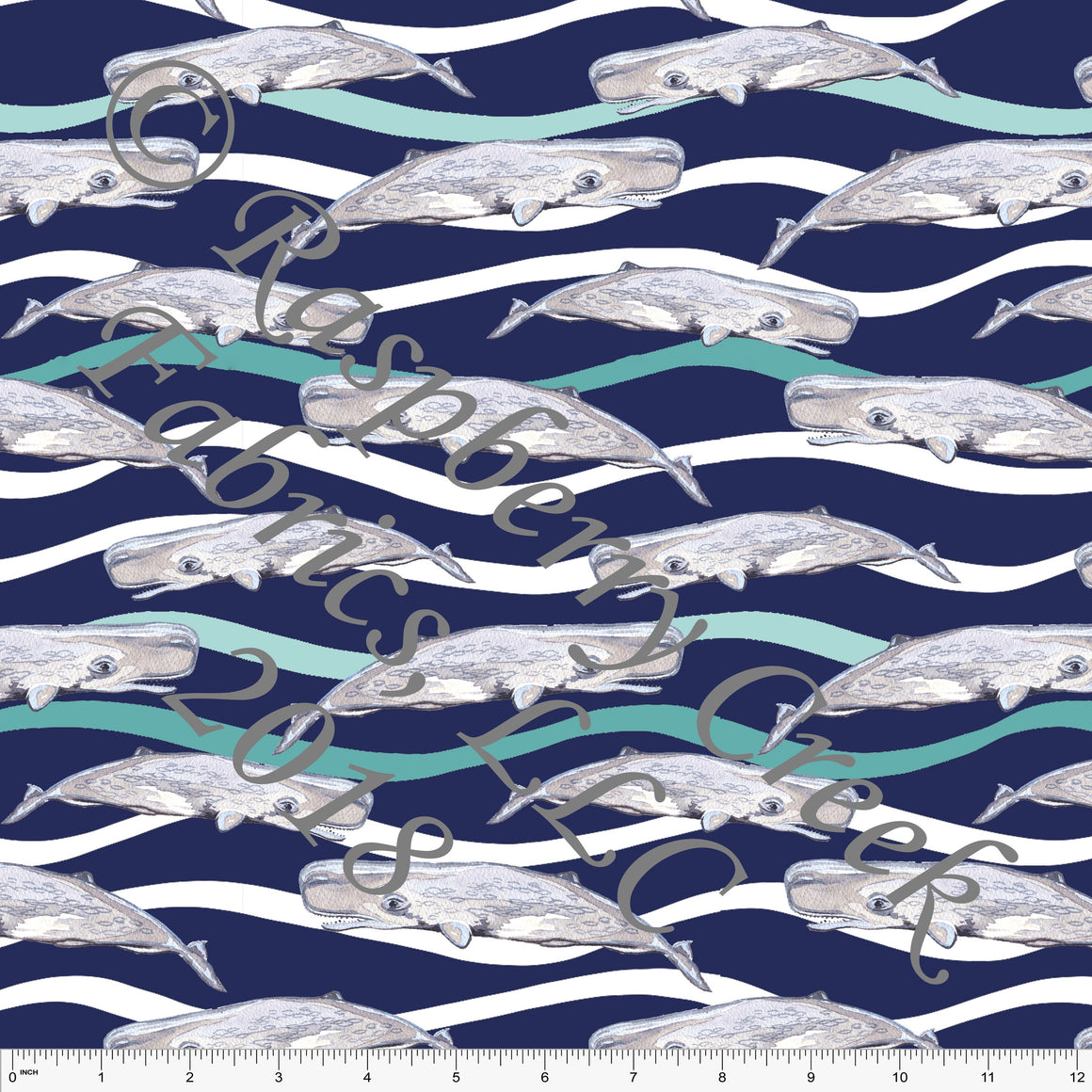 Navy Blue Teal and Grey Whale 4 Way Stretch MATTE SWIM Knit Fabric, By Ella Randall For Club Fabrics