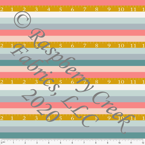 Salmon Dusty Pink Mustard Grey and Bright Teal Tape Measure Stripe Print Double Brushed Poly Knit Fabric, By Kimberly Henrie for CLUB Fabrics - Raspberry Creek Fabrics