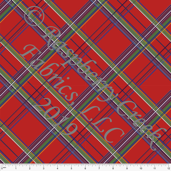 Red Green Blue and Gold Tartan Plaid Double Brushed Poly, By Bri Powell for CLUB Fabrics - Raspberry Creek Fabrics