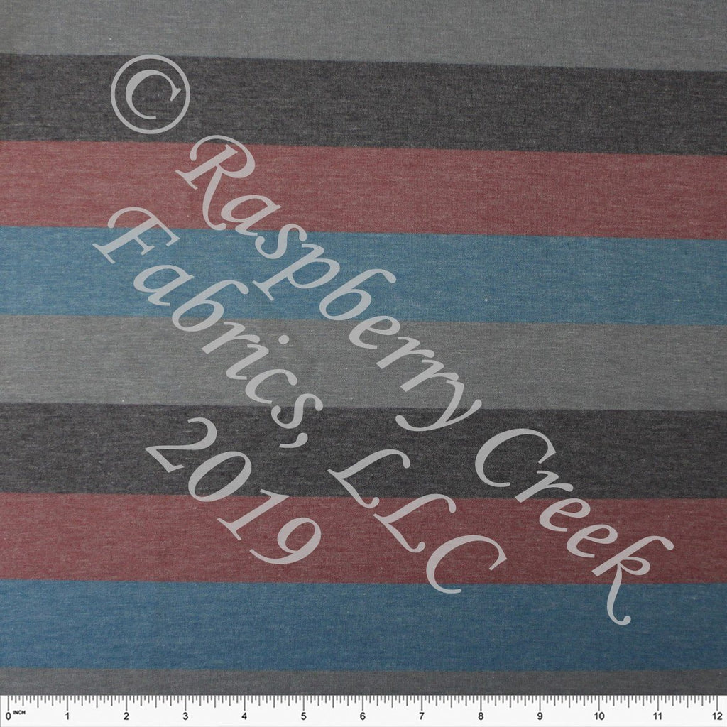 Charcoal Burgundy Marsala Teal and Medium Grey Multi Stripe Heathered FLEECE Sweatshirt Knit Fabric, CLUB Fabrics - Raspberry Creek Fabrics