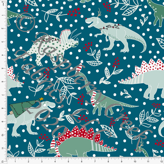 Teal Red and Dusty Green Christmas Dinosaur Print Double Brushed Poly Knit Fabric, By Kimberly Henrie for CLUB Fabrics - Raspberry Creek Fabrics