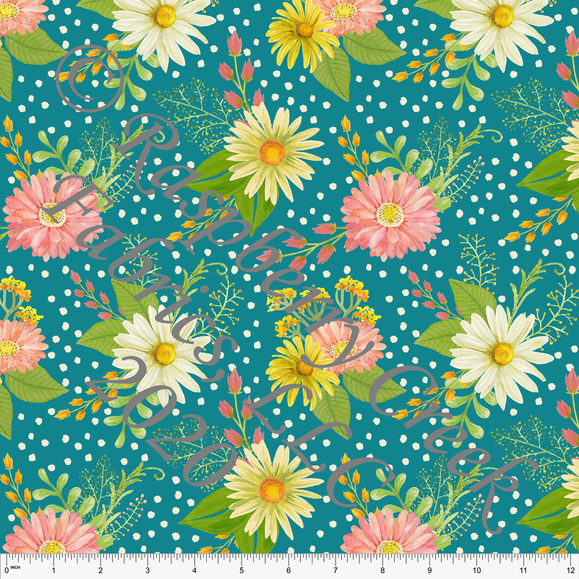 Bright Teal Fuchsia Pink Yellow and Green Daisy Dot Floral Print Double Brushed Poly Knit Fabric, CLUB Fabrics - Raspberry Creek Fabrics