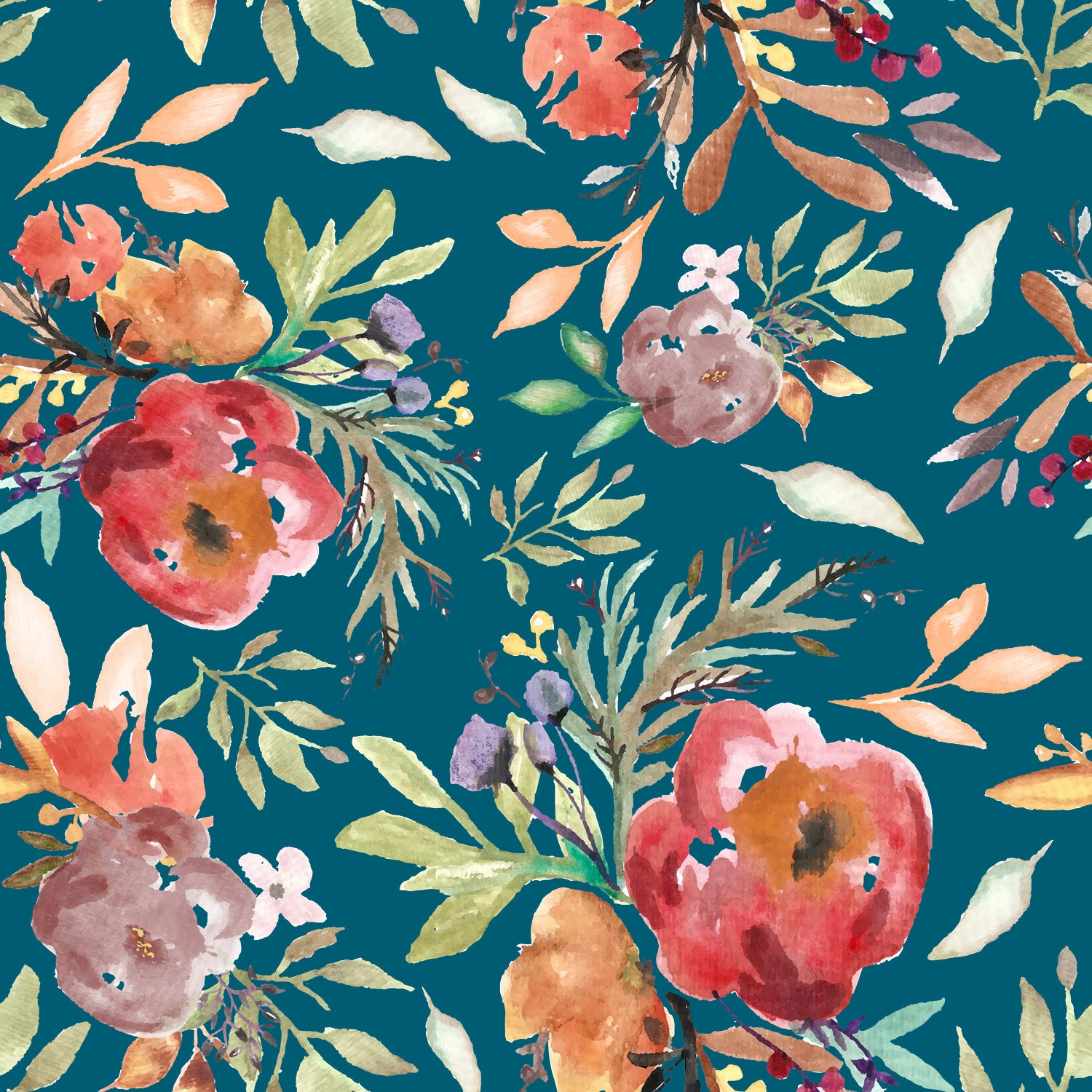 Teal Red Coral Orange and Green Watercolor Floral Print Double Brushed Poly Knit Fabric, By Elise Peterson for CLUB Fabrics Raspberry Creek Fabrics