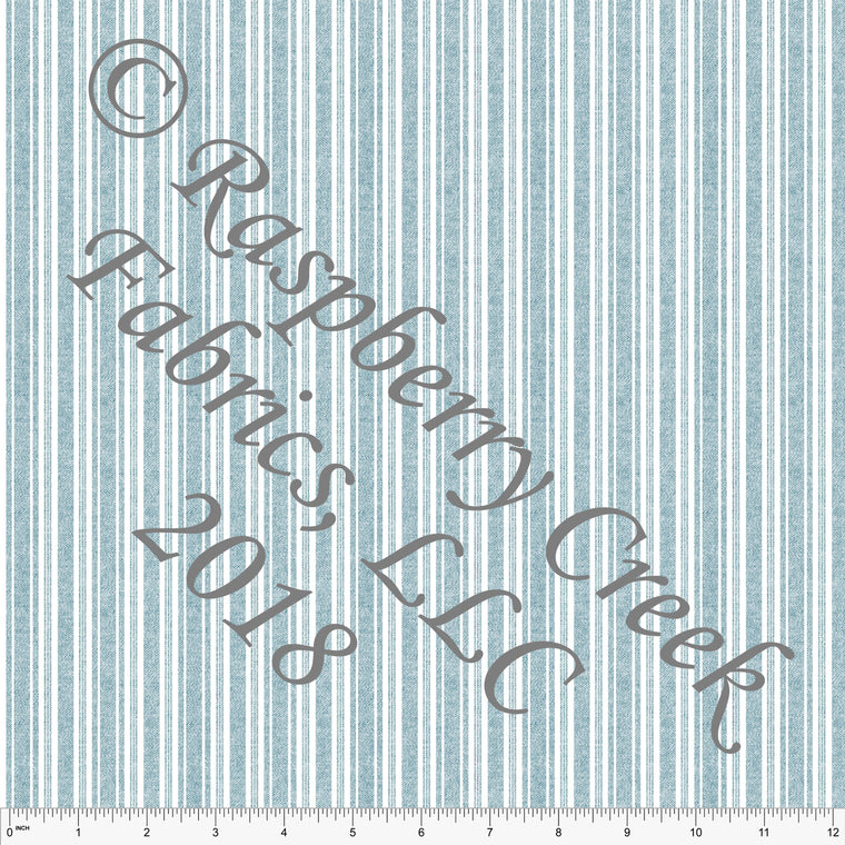 Teal and White Linen Look Vertical Stripe in Rayon Challis, 1 Yard