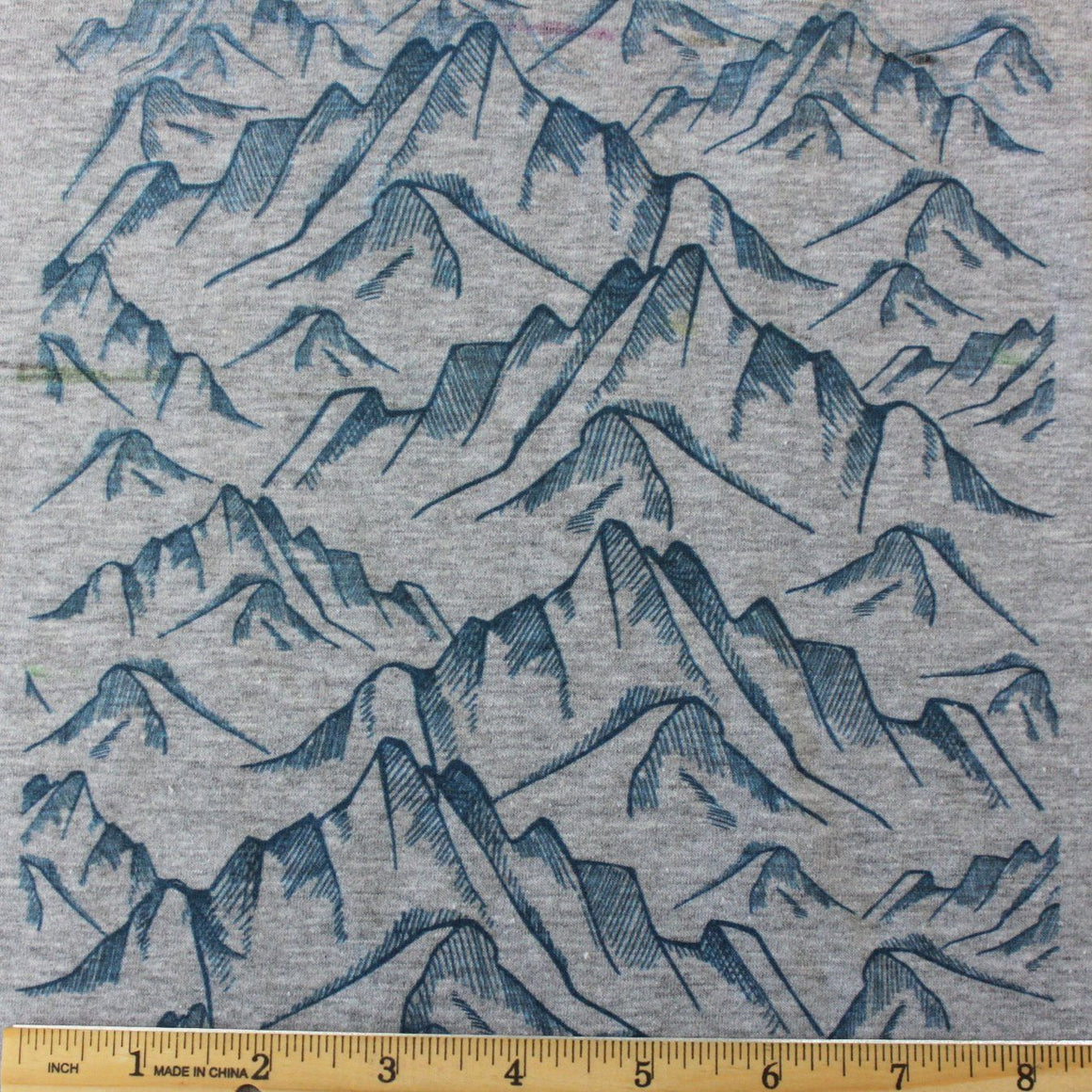 Teal Geometric Mountains on Grey 4 Way Stretch Jersey Knit Fabric, Retro Greys for Club Fabrics