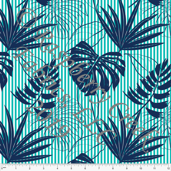 Seafoam and Navy Palm Leave Vertical Stripe Rayon Challis, CLUB Fabrics, 1 Yard