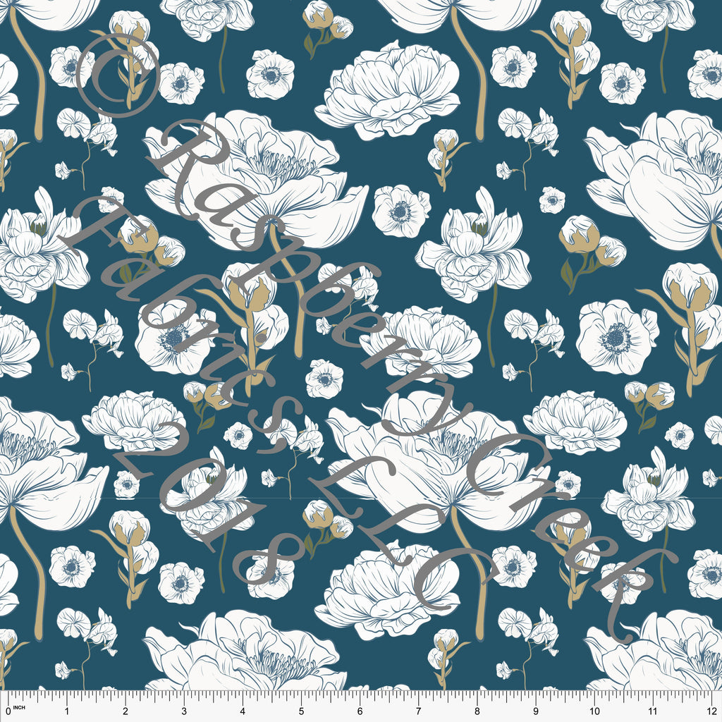 Teal Olive Beige and White Floral Ponte De Roma Knit Fabric, 1 yard