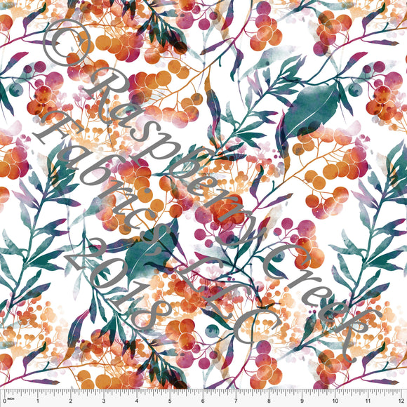 Teal Orange and Burgundy Abstract Floral Rayon Challis, 1 Yard