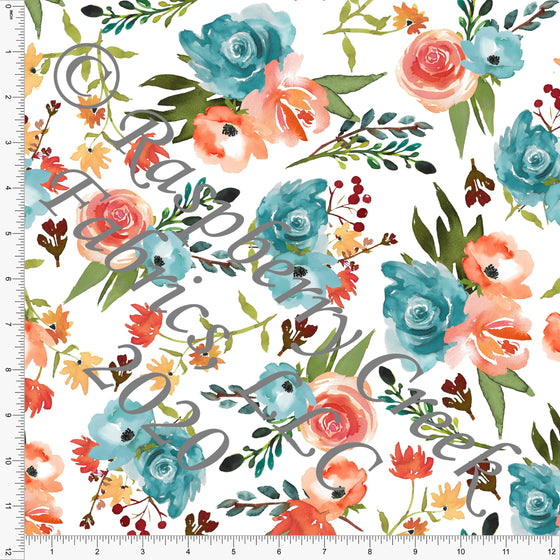 Teal Peach Orange Yellow and Burgundy Watercolor Floral, Club Fabrics - Raspberry Creek Fabrics