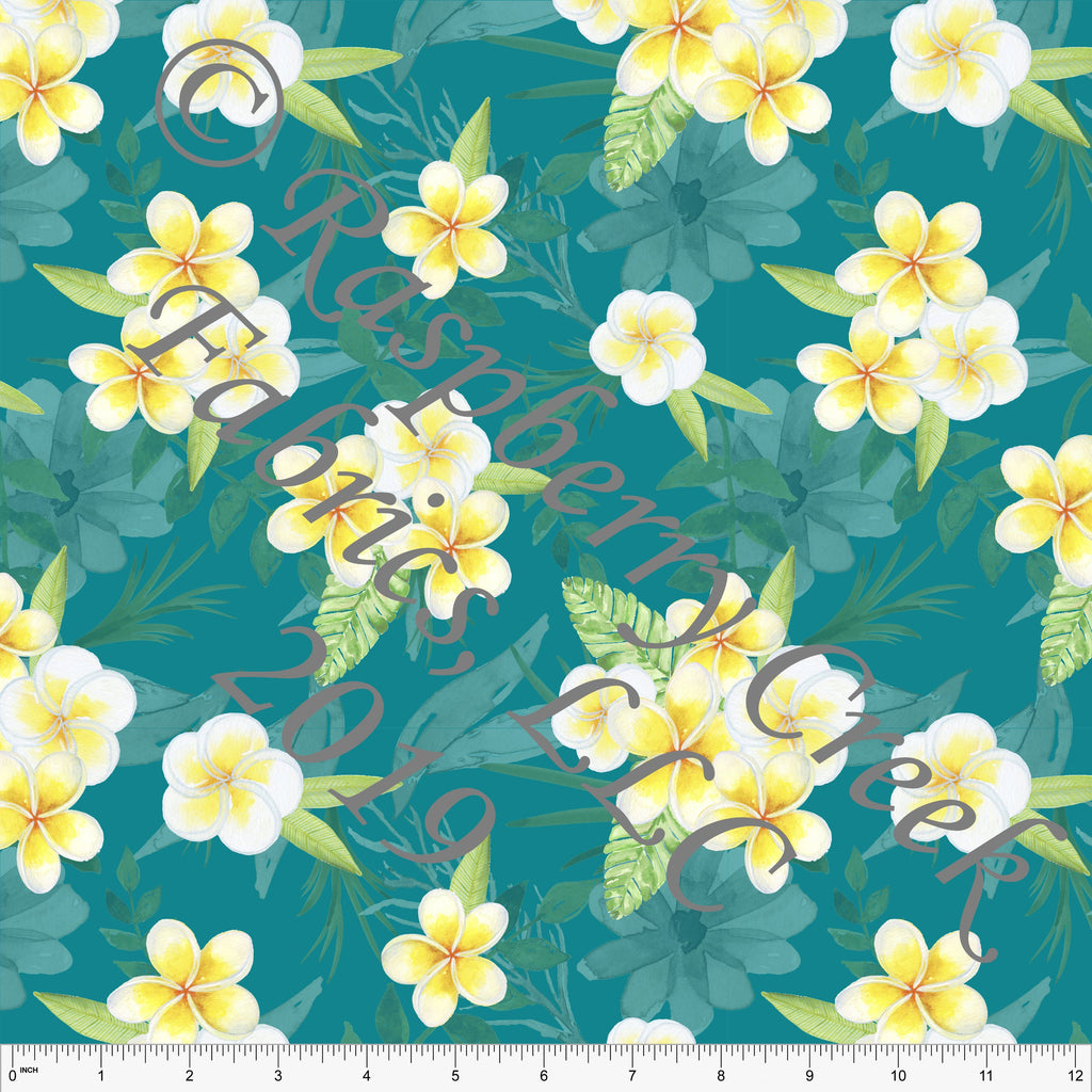 Teal Yellow and White Plumeria Floral 4 Way Stretch MATTE SWIM Knit Fabric, Club Fabrics