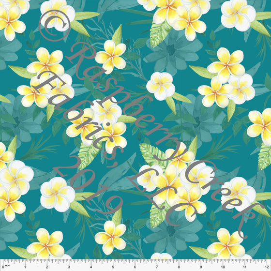 Teal Yellow and White Plumeria Floral 4 Way Stretch MATTE SWIM Knit Fabric, Club Fabrics - Raspberry Creek Fabrics
