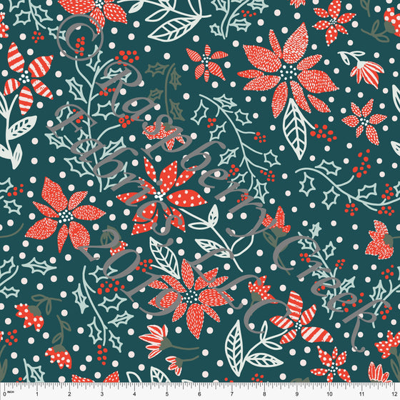 Teal Red and Pink Poinsettia Floral 4 Way Stretch Double Brushed Poly, By Kimberly Henrie CLUB Fabrics - Raspberry Creek Fabrics