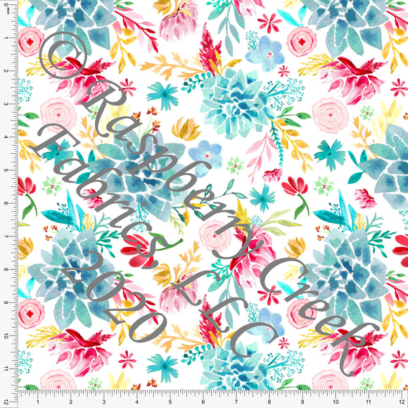 Teal Red Mustard Yellow and Pink Watercolor Floral, Summer Floral by Elise Peterson for Club Fabrics - Raspberry Creek Fabrics