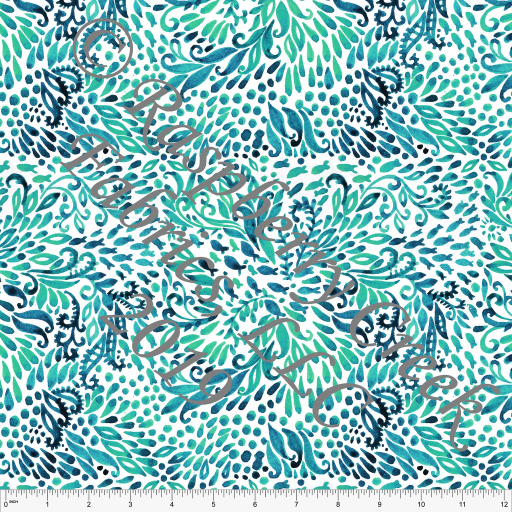 Navy Teal and Green Tonal Abstract Watercolor Seaweed 4 Way Stretch MATTE SWIM Knit Fabric, Club Fabrics - Raspberry Creek Fabrics