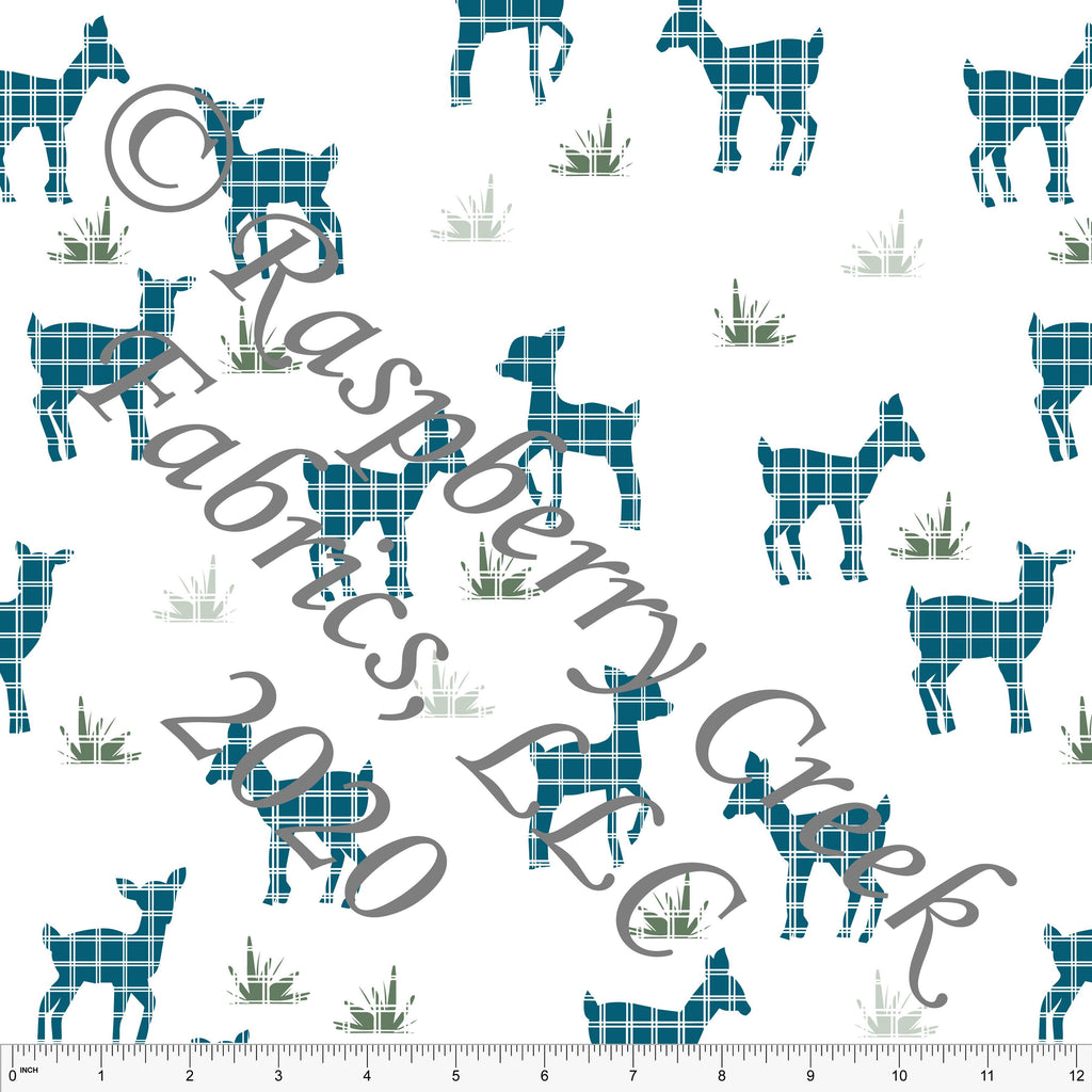 Teal and Sage Windowpane Deer, Flora and Fauna By Lisa Mabey Club Fabrics - Raspberry Creek Fabrics