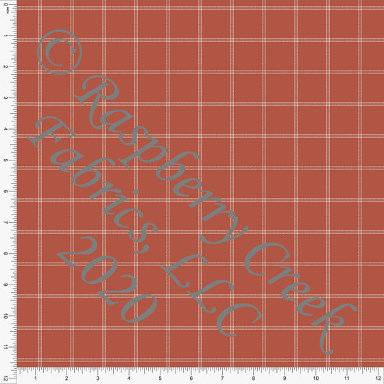 Rust and Off White Windowpane Plaid Print Double Brushed Poly Knit Fabric, CLUB Fabrics - Raspberry Creek Fabrics