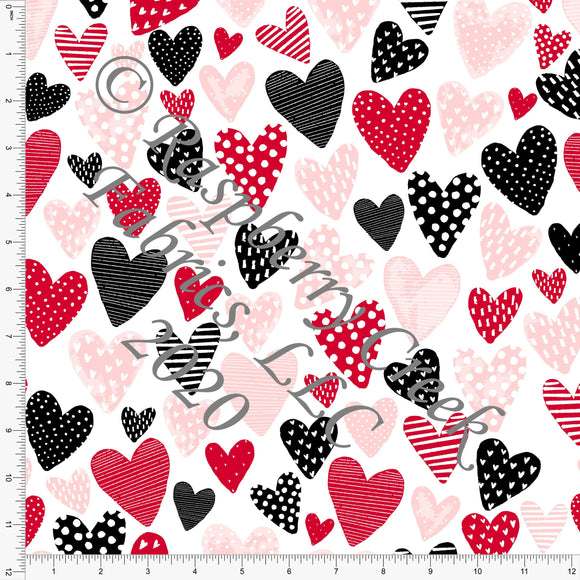 Red Pink Peach and Black Tossed Patterned Hearts, By Kimberly Henrie for Club Fabrics - Raspberry Creek Fabrics