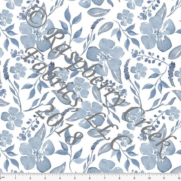 Tonal Blue and White Watercolor Floral in Rayon Challis, 1 Yard