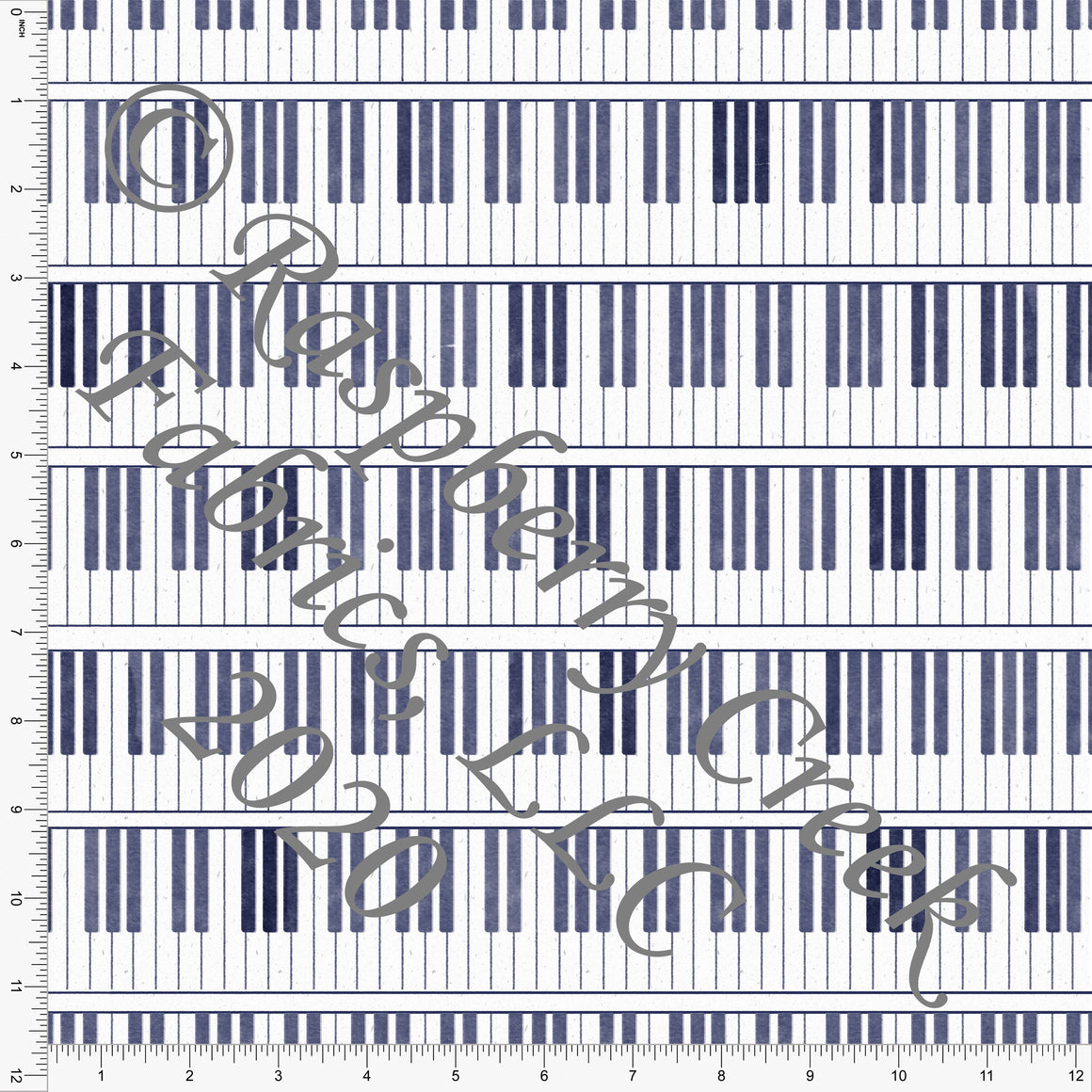 Tonal Navy Blue Piano Keys, R&B By Bri Powell Club Fabrics - Raspberry Creek Fabrics