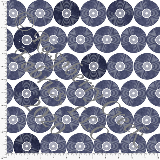 Tonal Navy Blue Vinyl Records, R&B By Bri Powell Club Fabrics - Raspberry Creek Fabrics