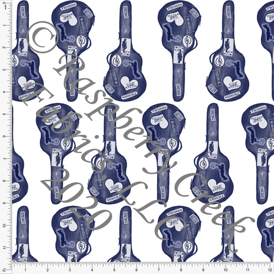 Tonal Navy Blue Guitar Travel Case, R&B By Bri Powell Club Fabrics - Raspberry Creek Fabrics