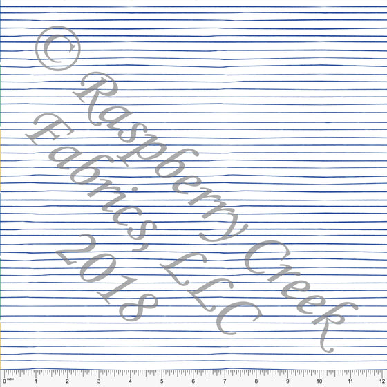 Royal Blue and White Hand Drawn Thin Stripe 4 Way Stretch Jersey Knit Fabric, Sasquatch by Kimberly Henrie for Club Fabrics