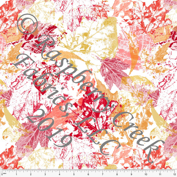 Bright Red Orange and Mustard Tie Dye Look Leaves by Elise Peterson for Club Fabrics - Raspberry Creek Fabrics